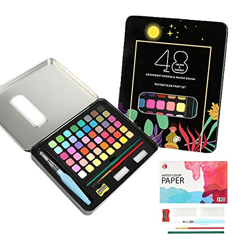 48 Watercolor Paint Set, Assorted Solid Paints Contain Brushes and Pad Paper, Portable Travel Set, Premium Quality for Professionals, Beginners, Adults, Kids and More