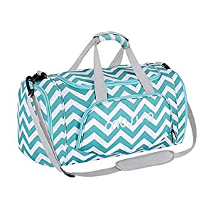MOSISO Sports Duffel with Shoe Compartment Chevron Gym Bag for Men/Women Dance Travel Weekender, Turquoise