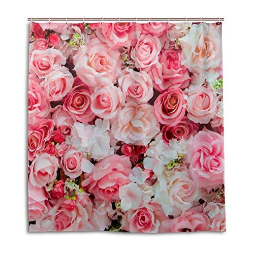 CPYang Duschvorhang, Rosen-Blumenmuster, wasserdicht, schimmelresistent, 168 x 182 cm, mit 12 Haken