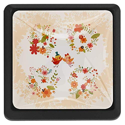 Bloemen Liefde Kaart Lade Knop Trek Handvat Kristal Glas Vierkante Vorm Kast Lade Trekken Kast Knopen met Schroeven voor Thuis Kantoor Kast Kast Kast 3 Stuks