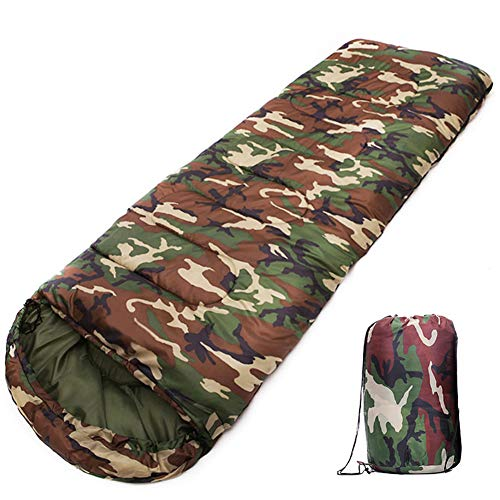 Camuflaje Saco de Dormir Ligero portátil de Gran Calentamiento Impermeable para Senderismo Camping con Mochila de Viaje Actividades al Aire Libre Sacos de Dormir