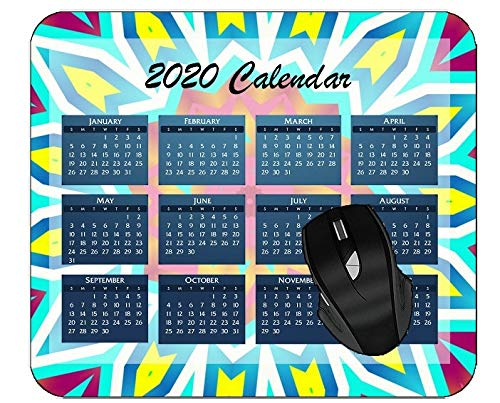 Mouse Pad 2020 Calendar Kaleidoscope Abstract Digital Art Material Color Art Flower Colorful Year 2020 Calendar Mouse Pad