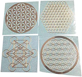 Xigeapg 4Pcs/Set New Metal Energy Decor Sticker Flower of Life