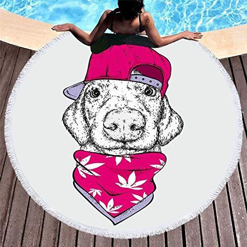 B-UK Toalla de Playa Bulldog Redondo Multicolor Toallas de Playa Verano Perro Gato Gato Toalla de Ducha Toalla de Ducha 150 cm Círculo Playa Nadar Yoga Mat Cover (Color : Pattern 11)