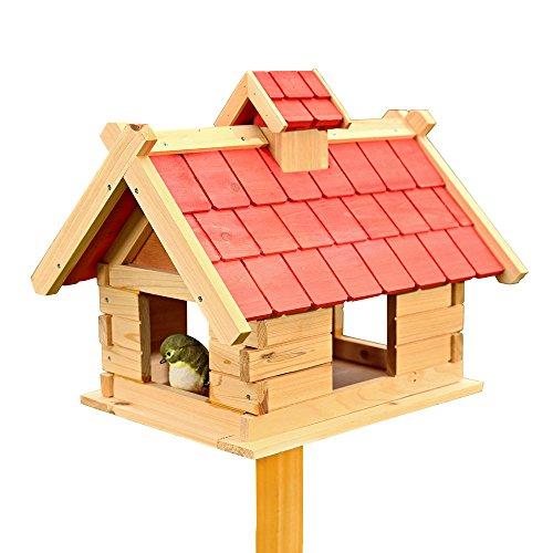 Melko Vogelhaus Vogel-Villa Vogel-Futtersilo, 44 x 34 x 37 cm, aus Holz, mit roter Dachpappe