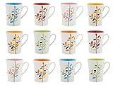 Home Leaves Set Tazze Mug, Ceramica, Bianco, 12 unità