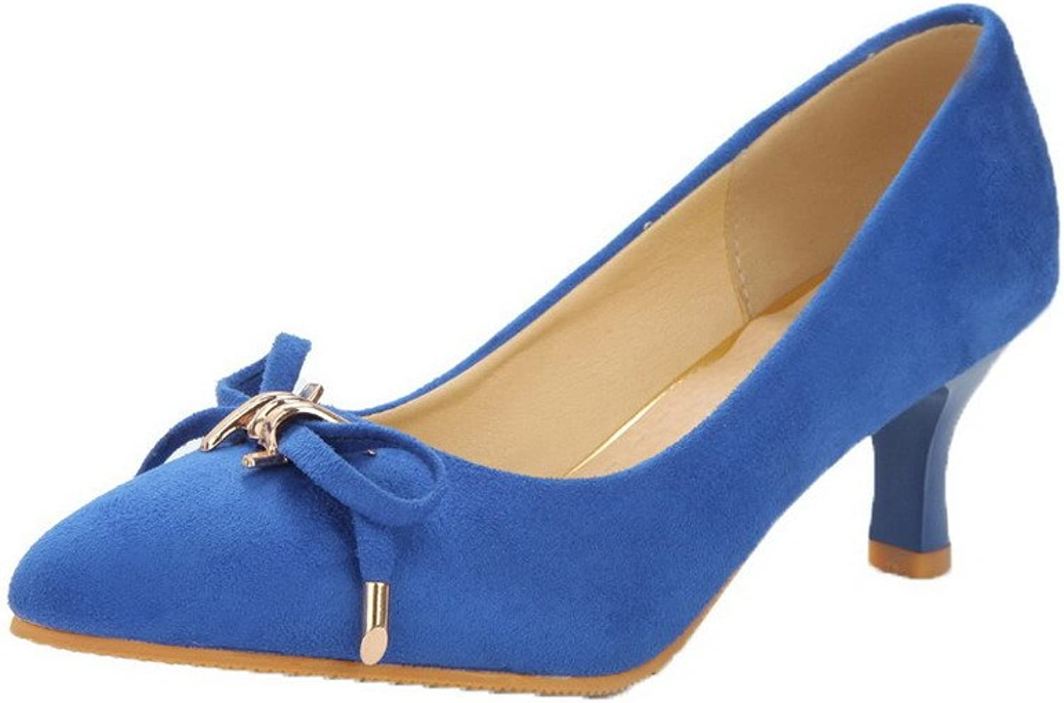 AmoonyFashion Women's Imitated Suede Solid Pull On Round Closed Toe Kitten Heels Pumps-shoes