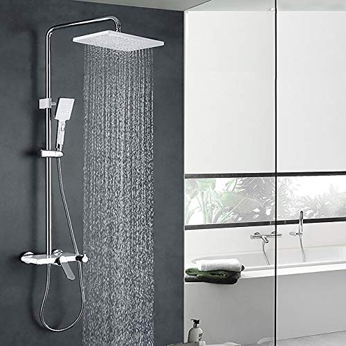 XSGDMN Badezimmer-Regenduschsystem mit großer Handbrause mit Sprühkopf und Kupferfilterhahn, Kupfer-Flachdusche mit heißem und kaltem Wasser