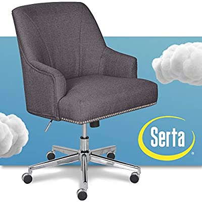 Serta Leighton Home Office Chair with Memory Foam, Height-Adjustable Desk Accent Chair with Chrome-Finished Stainless-Steel Base,