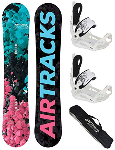 AIRTRACKS Snowboard Set - Tabla Polygonal Mujer 144CM - Fijaciones Master W M - SB Bag/Nuevo