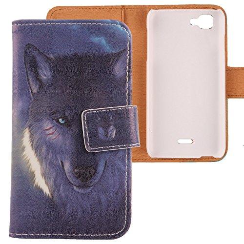 Lankashi PU Flip Leder Tasche Hülle Case Cover Schutz Handy Etui Skin Für Wiko Kite 4G Wolf Design