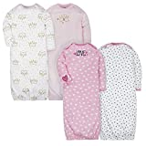 Gerber Baby Girls 4 Pack Gowns, Fox/Princess, 0-6 Months