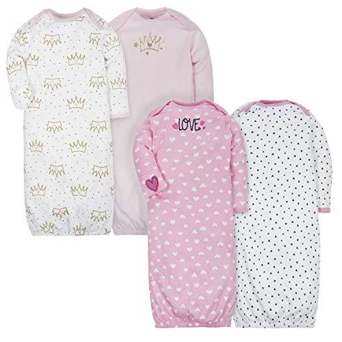 Gerber Baby Girls 4-Pack Gown, Fox/Princess, 0-6 Months