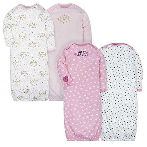GERBER Baby Girls 4 Pack Gowns, Fox/Princess, 0-6 Months