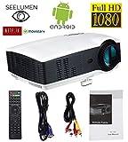 Vidéoprojecteur Full HD 1080P, LED Projecteur portatif 3200 lumens 1080P LCD Home Cinéma 1920 * 1080 Android Bluetooth Wifi HDMI...