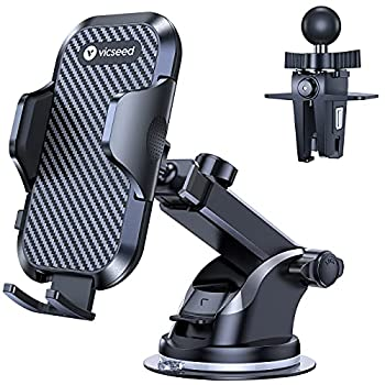 VICSEED Universal Cell Phone Holder for Car Phone Mount Car Phone Holder Dashboard Windshield Air Vent Long Arm Strong Suction Cell Phone Car Mount Fit with iPhone SE 12 Pro Galaxy S21 All Phones