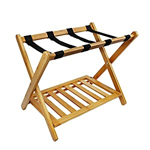 Beautifully finished foldable bamboo luggage rack with nylon strips is perfect to enhance any décor, perfect for easy, space-saving storing when not in use. Sturdy, hardwearing & elegant design - Crafted from strong bamboo wood and plain nylon strips...