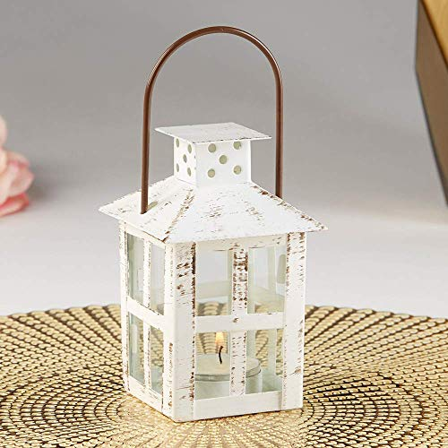 Kate Aspen Vintage White Distressed Small Candle Lantern, One Size