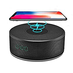 Bluetooth Speakers with Wireless Charger, DORNLAT Portable Wireless Speaker with Alarm Clock & FM Radio, Bass Stereo Dual Speakers, Built-in MIC, Perfect Speaker for Home, Party, Travel, Outdoor
