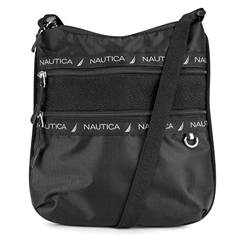 Nautica Captains Quarters Double Zip Pocket Adjustable Crossbody, black