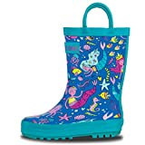 LONECONE Rain Boots with Easy-On Handles in Fun Patterns for Toddlers and Kids, Bootiful Mermaids, 11 Little Kid