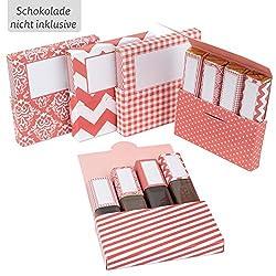 Netti Li Jae ® Aufkleberset für Merci-Schokolade: Das persönliche Dankeschön & kreative Geschenk – für 5 personalisierte Geschenke – persönliche Geschenkidee (Korallenrot)