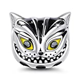 GNOCE 'We`re All Mad Here 925 Sterling Silver Cute Cat Cheshire Cat Charm for Fairy Tale Lovers Lucky Animal Charms Beads for Bracelet and Necklace Women Girls Pendant Good Luck Gift