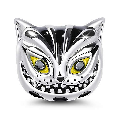 Gnoce Tierkopf Bead Charms 925 Sterling Silber Charms Schmuck mit Zirkonia Bijouterie für Frauen Männer Mädchen (Cheshire Cat)