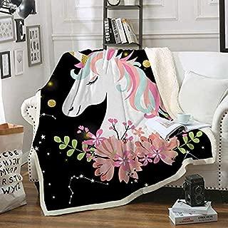 "FairyShe Kids Fleece Throw Blanket Soft Warm Sherpa Blanket, 50""x60""Cartoon Coral Velvet Twin Blanket,for Bed Couch Chair Baby Crib Living Room (Flowers)"
