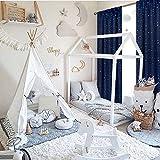 BGment Vorhänge Sterne Verdunkelungsvorhänge Blickdicht Gardine mit Stangendurchzug und Rückenschlaufen Kälte- und Wärmeisolierung für Kinderzimmer Schlafzimmer, H 137 X B 117cm, 2 Stück, Dunkelblau - 3