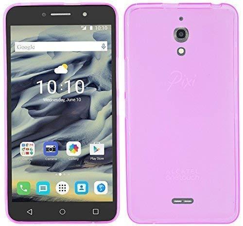 ENERGMiX Silikon Hülle kompatibel mit Alcatel Pixi 4 6.0 Zoll (8050D) Tasche Hülle Zubehör Gummi Bumper Schale Schutzhülle Zubehör in Pink