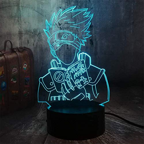 Naruto Japanese Anime Hatake Kakashi Figure 3D Vision LED 7 Color Night Light Acrylic Base Lamp Child Gift Kids Manga Table Decor Sons Birthday Gifts for Friends Family Gifts