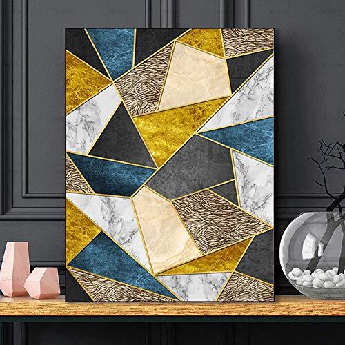 hetingyue Pintura de mármol Abstracta Venas geométricas Imagen sobre Lienzo Arte de la Pared Cartel de mármol nórdico HD Imprimir Pintura sin Marco 30X41 cm