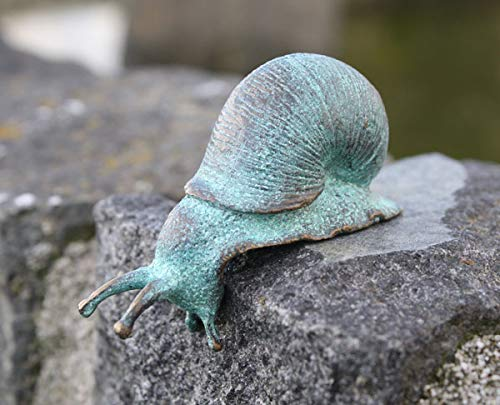 Bronzen beeld figuur kleine slak mini slak tuindecoratie van brons