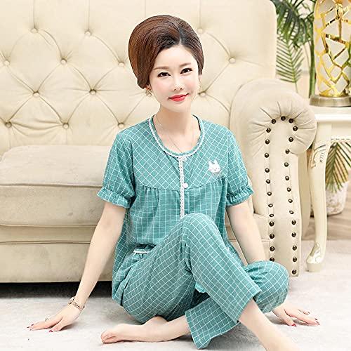 Cxypeng Pijama de señora Mujer,Pijama de algodón para Ancianos femoral Fino, Manga Corta + pantalón-XXXL_2# Azul,Pijamas de Franela Suave Cálida Ropa