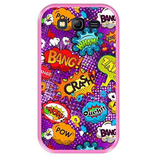 Hapdey Funda Rosa para [ Samsung Galaxy Grand Neo - Neo Plus ] diseño [ Patrón de Burbujas cómicas ] Carcasa Silicona Flexible TPU
