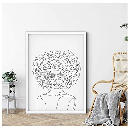 HHLSS Arte de Lienzo 70x90cm sin Marco Arte de Pared Minimalista Afro Mujer Cara Dibujo de línea Arte Cartel impresión Negro Blanco Cuadro de Pared decoración del hogar