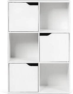 RELAX4LIFE Bibliothèque 6 Compartiments avec 3 Portes, Armoire de Rangement en Bois avec 3 Étagères Style Scandinave pour ...