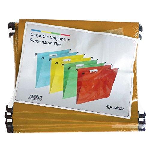 Grafoplas - Caja 50 Unidades Carpeta Colgante a4 Kraft con Visor Superior Corto 65mm Efecto Lupa - ⭐
