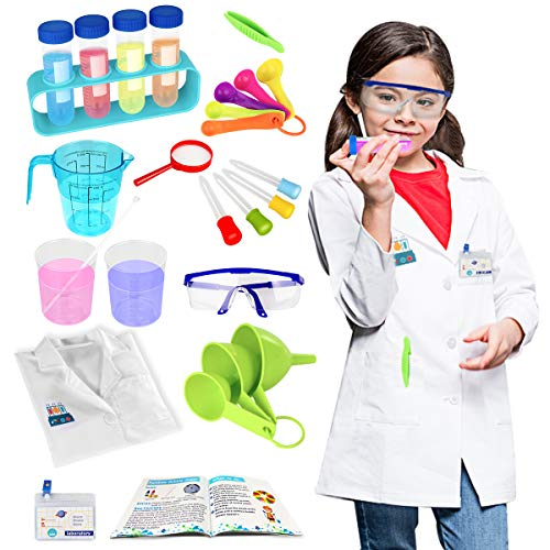 N/C Kids Science Experiment Kit with Lab Coat Toys Role Play Pretend Play Scientist Costume Dress Up STEM Toys Gift for Boys Girls Kids Age 5 6 7 8 9 10 Years Old