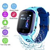 KKUYI Kids Smart Watch with SOS Call GPS/LBS Tracker Waterproof Smart Wrist Watch for Kids with Games Camera 2 Way Voice Chat Pedometer Birthday Gifts for Boys Girls 3-12 Year Old Remote via APP
