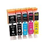 Tinnee - 5 cartuchos de tinta 550XL 551XL para Canon PGI-550 CLI-551 XL compatibles con Canon Pixma IP7250 MX925 MX725 IX6850 IP7200 MG5400 MG5450 MG5550 MG5650 MG5650 6450