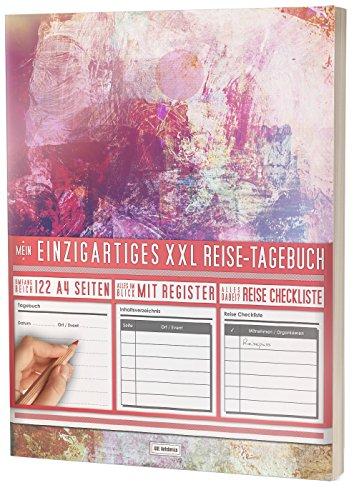 """Mein Reisetagebuch • 122 Seiten, Register, Kontakte / Neue Auflage mit Reise Checkliste / PR401 """"Grunge"""" / DIN A4 Softcover"""