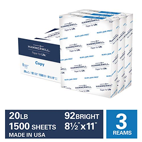 Hammermill 20lb Copy Paper, 8.5 x 11, 3 Ream Case, 1,500 Sheets, Made in USA, Sustainably Sourced From American Family Tree Farms, 92 Bright, Acid Free, Economical Multipurpose Printer Paper, 113620C