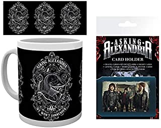 1art1 Set: Asking Alexandria, We Won't Surrender Photo Coffee Mug (4x3 inches) and 1 Asking Alexandria, Credit Card Holder Wallet for Fans Collectible (4x3 inches)
