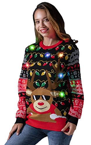 U LOOK UGLY TODAY Jersey de punto para mujer, divertido y divertido con luces LED, para Navidad Rudy Lit Up L