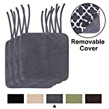 homing Chair Cushions for Dining Rooms - Memory Foam Non Slip Seat Pads for Kitchen with Ties and Removable Pattern Cover, 16'x16' 4 Pack Dark Grey