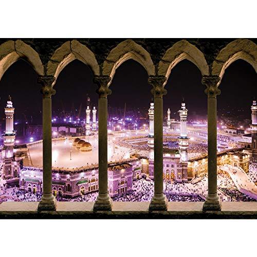 Vlies Fototapete PREMIUM PLUS Wand Foto Tapete Wand Bild Vliestapete - Moschee Mekka Bogen Säulen Nacht Lightning - no. 2279, Größe:312x219cm Vlies