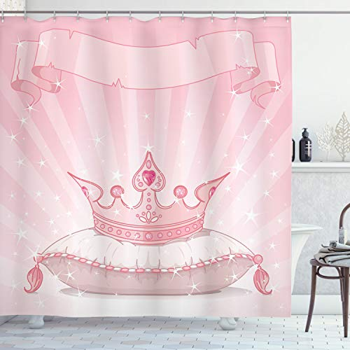Lunarable Princess Shower Curtain, Royal Pink Crown on a Pillow Vivid Colored Hand Drawn Image Old Tales, Cloth Fabric Bathroom Decor Set with Hooks, 70' Long, Pink