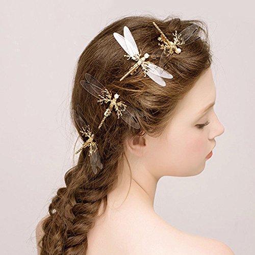 Nuohuilekeji Haarklammer / Haarspange mit Libelle, transparent, goldfarben